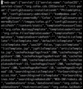 A long, hard-to-read string of json
