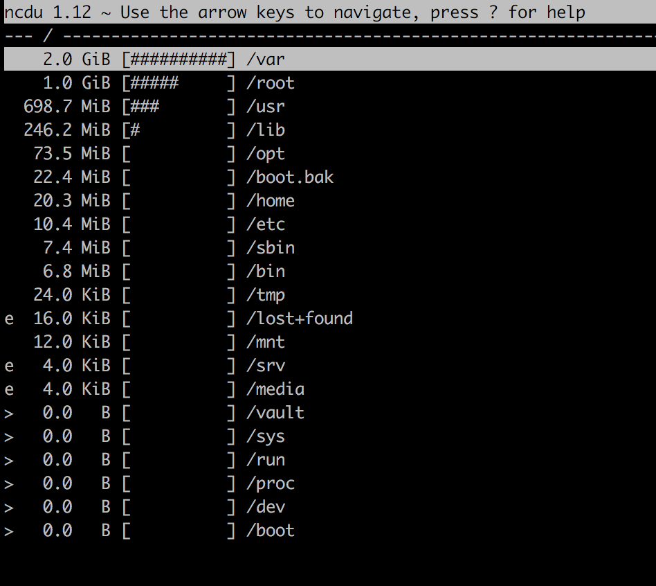 screenshot of ncdu showing files and directories in root