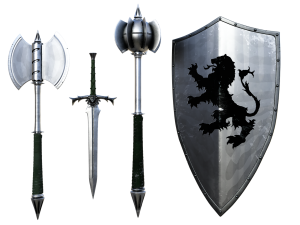 Image of axe, dagger, mace, and shield